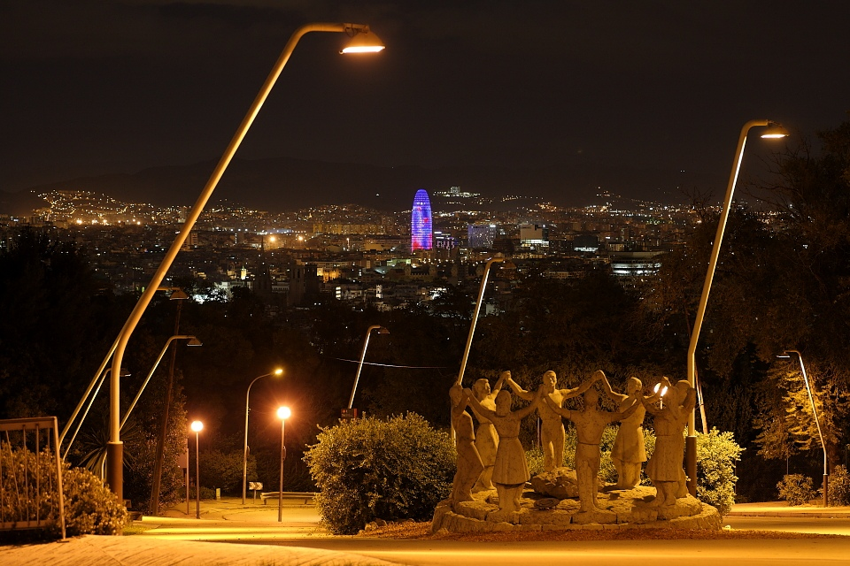 View to Barcelona from Montjuic at night